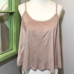 Forever 21 Faux Suede Scalloped Top